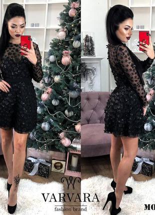 Нарядное трикотажной платье с длинным рукавом, черное