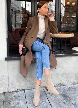 Стильное кашемировое пальто с подкладкой, мокко