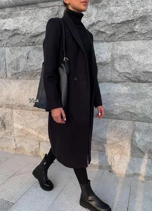 Стильное кашемировое пальто с подкладкой, чёрное