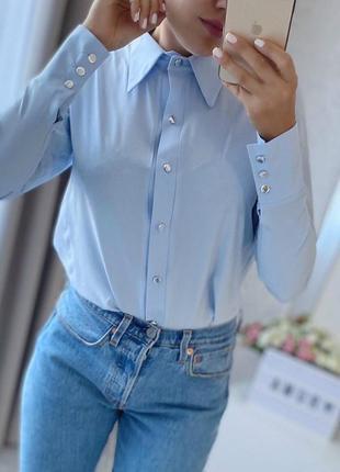 Стильная базовая рубашка приятная к телу, с длинным рукавом, н...