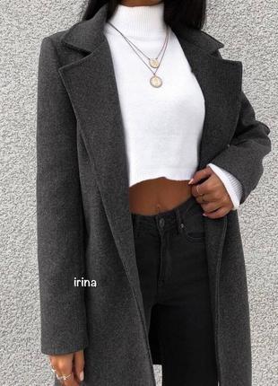 Стильное пальто на подкладке с пуговицей, графит, черное