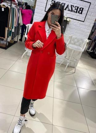 Кашемировое тёплое пальто на подкладе, красное