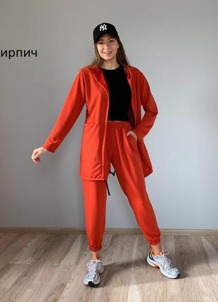 Стильный спортивный костюм, джоггеры и длинная кофта, красный,...