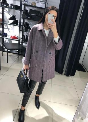 Стильное кашемировое пальто на подкладке, фиолет