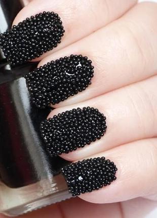 Бульонки стеклянные (бисер икра) черные для декора ногтей