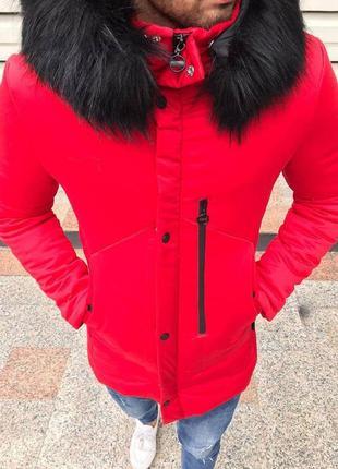Шикарная мужская зимняя парка с капюшоном и съемным мехом красная