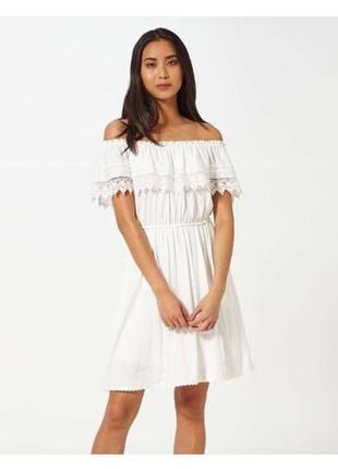 Платье мини 48 50  размер бюстье белое кружевное  на новый год...
