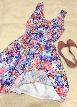 Яркое летнее платье льняное + вискоза peacocks размер 12