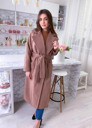 Базовое длинное кашемировое пальто на запах
