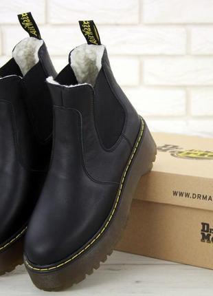 Распродажа! женские зимние кожаные ботинки/ челси dr. martens ...