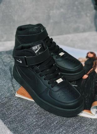 Шикарные женские чёрные кроссовки nike air force 1 high black 😍