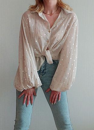 Блуза рубашка с обьемными рукавами Boohoo