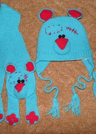 Набор шапка, шарф, рукавички на 2-4 года