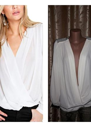 🌺🎀🌺стильная женская блузка с запахом, глубоким декольте mango ...