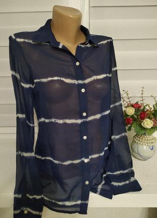 Блуза - рубашка, синяя в белую полоску- индонезия