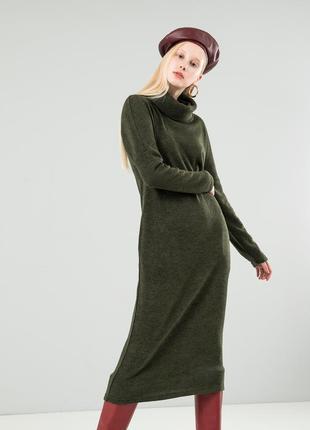 Длинное платье season ангора цвета зеленое