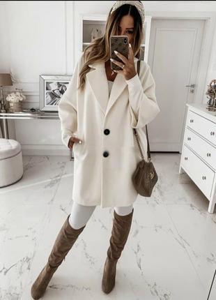Пальто белое кашемир оверсайз