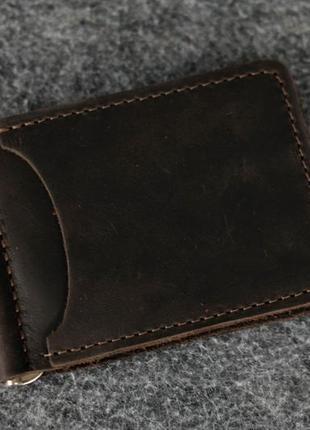 Кожаный зажим для денег и карт мужской натуральная винтажная к...