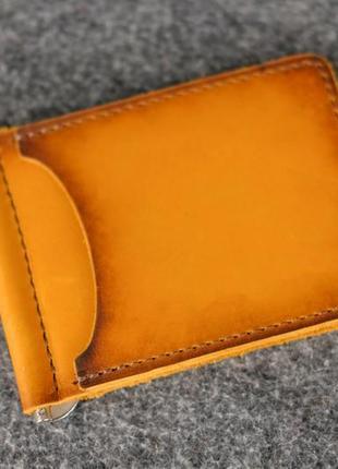 Кожаный зажим для денег и карт мужской натуральная кожа италья...