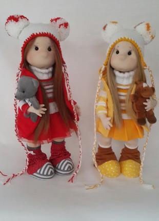 Текстильная интеръерная коллекционная кукла ручной работы