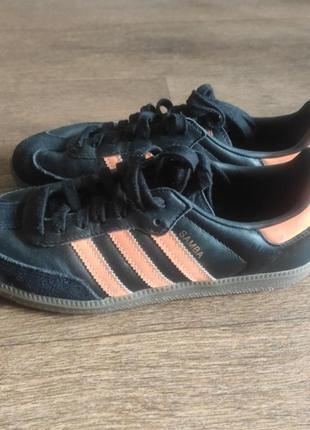 Кроссовки кожаные adidas originals samba  black/orange