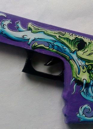 Деревянный пистолет-резинкострел Глок-18 (из игры CS:GO)