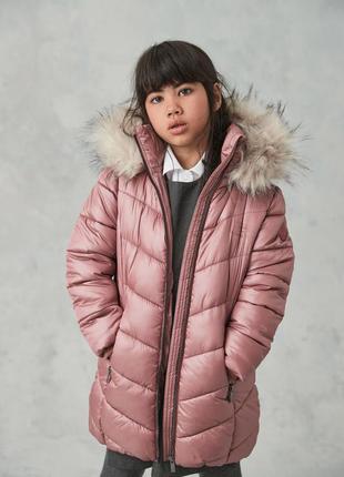 Непромокаемая дутая куртка с искусственным мехом (3-16 лет)