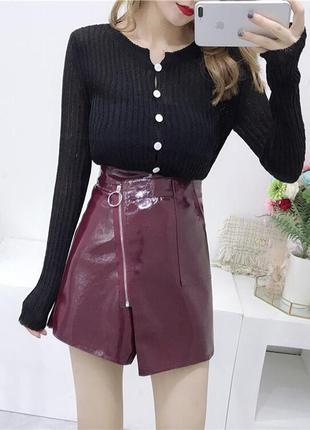 ⛔✅ лаковая мини юбка косуха эффект запаха 2 цвета