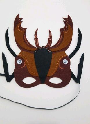 Карнавальная маска из фетра коричневый Жук