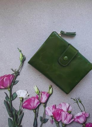 Кошелек зеленый кожаный яркий есть цвета