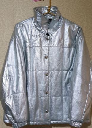Куртка пуховик зимняя кожа кожаная утепленная