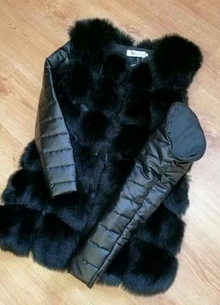 Меховая жилетка трансформер куртка съёмные рукава. Дропшиппинг