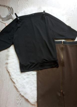 Черная блуза оверсайз летучая мышь с открытыми плечами длинным...