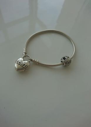 Браслет Pandora пандора серебро срібло шарм надпись loved 925