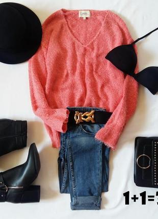 Papaya базовый свитер s-m травка пушистый v-вырез свитшот пуло...