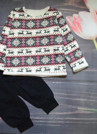 Теплый костюм на флисе с оленями