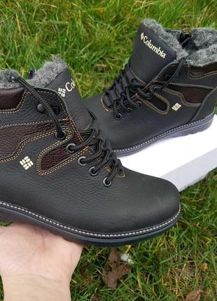 Зимние кожаные легкие прошитые ботинки зимові шкіряні чоботи