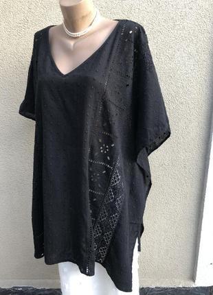Чёрная,кружевная блуза,пончо,рубаха,большой размер,этно,бохо с...