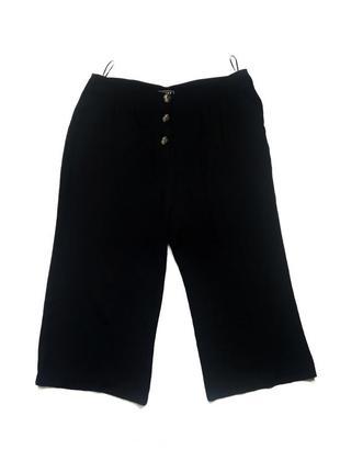 Стильные черные женские укороченные брюки/кюлоты большого разм...