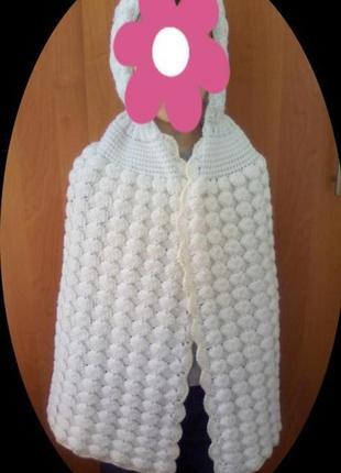 Детская накидка теплая вязанная на 4-8 лет