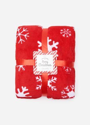 Новый красный плед одеяло покрывало польша узор снежинки снег ...