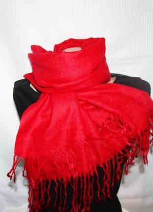 Роскошный палантин шарф тонкая шерсть красный