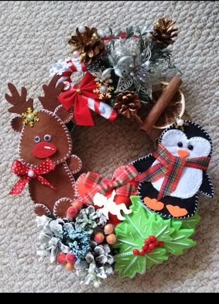 Рождественский новогодний веночек ручной работы