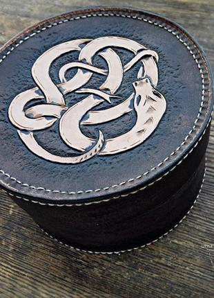 "Шкатулка ""serpent box"" из натуральной кожи"