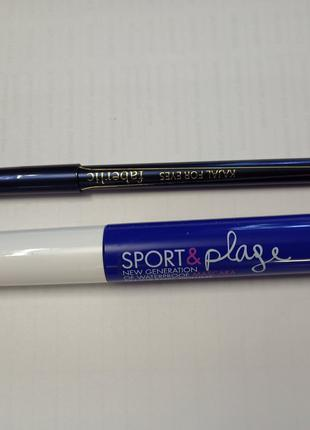 Тушь водостойкая бирюзовая+синий карандаш для глаз в подарок!