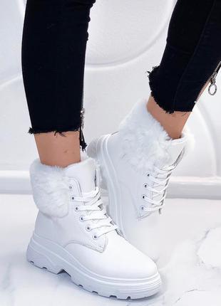 Шикарные зимние ботинки белого цвета,белые зимние ботинки на н...