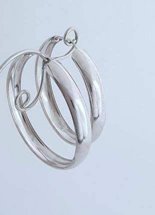 Серьги кольца, конго  серебро 925 проба