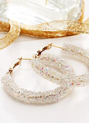 Серьги кольца с кристалликами/прозрачный/радужный/тренд/новая ...