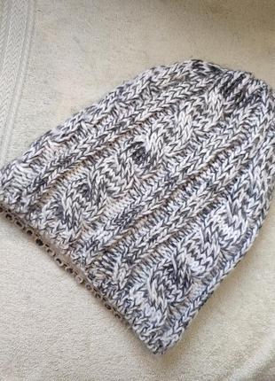 Шапка бини вязаная шерстяная с косами на флисе зимняя теплая с...