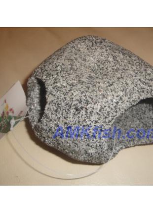 KW Zone декорация для аквариума Камень круглый темно-серый L